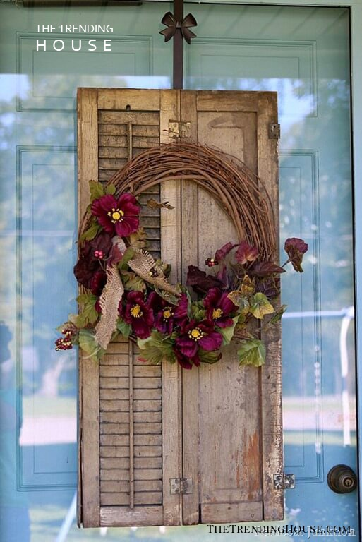 Old Shutter Outdoor Decor Idea with Wreaths