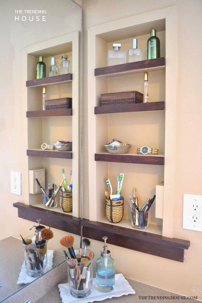 Open-face Medicine Cabinet with Wooden Shelves