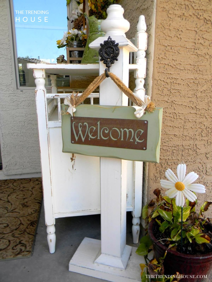 Ornate Post and Rustic Welcome Sign