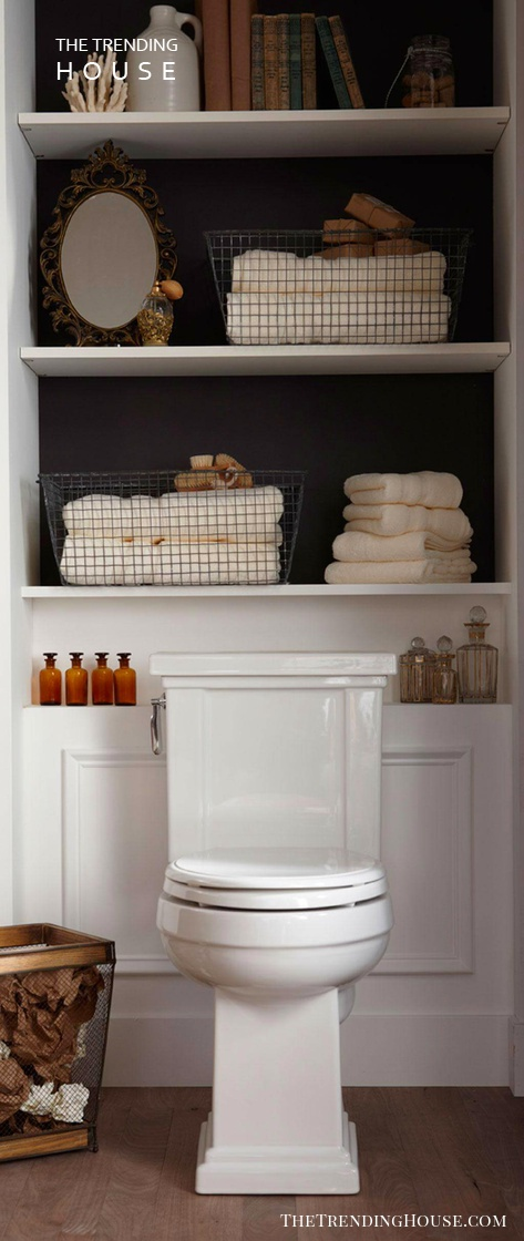 Over-the-toilet Storage Shelves with Molding Accent