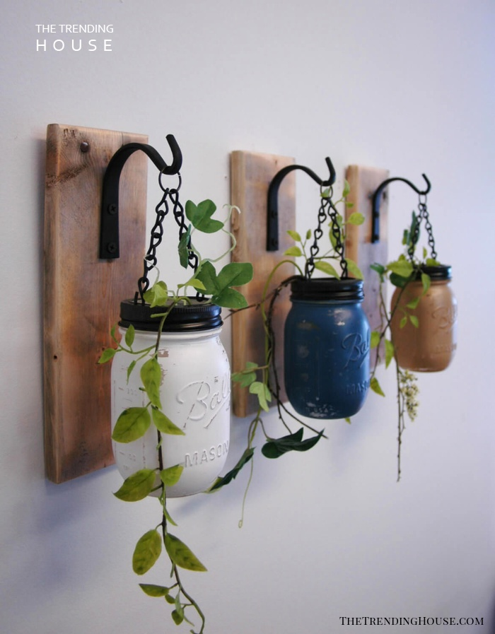 Painted Planters Mason Jar Wall Decor
