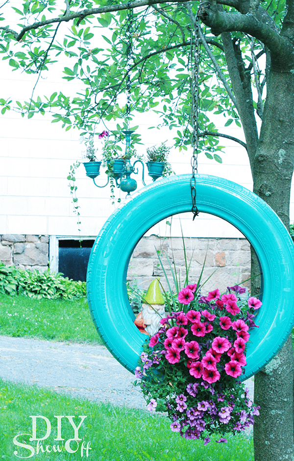 Painted Tire Planter for Ornamentals