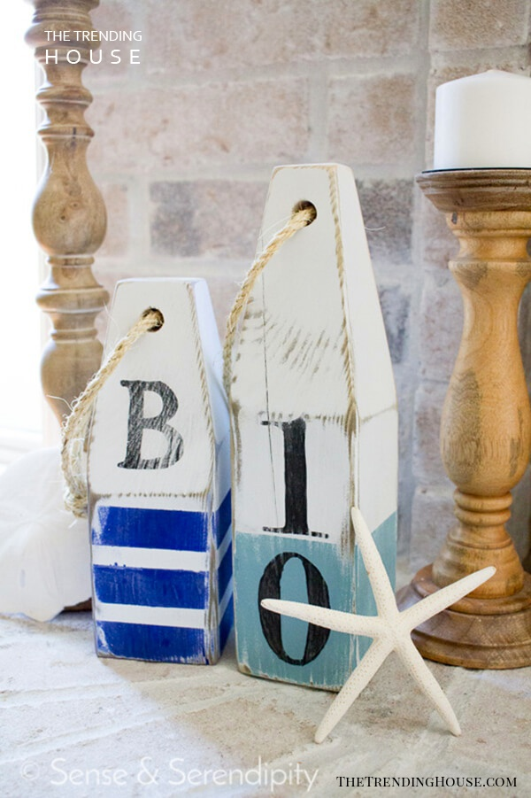 Painted Wooden Buoy Standing Decorations