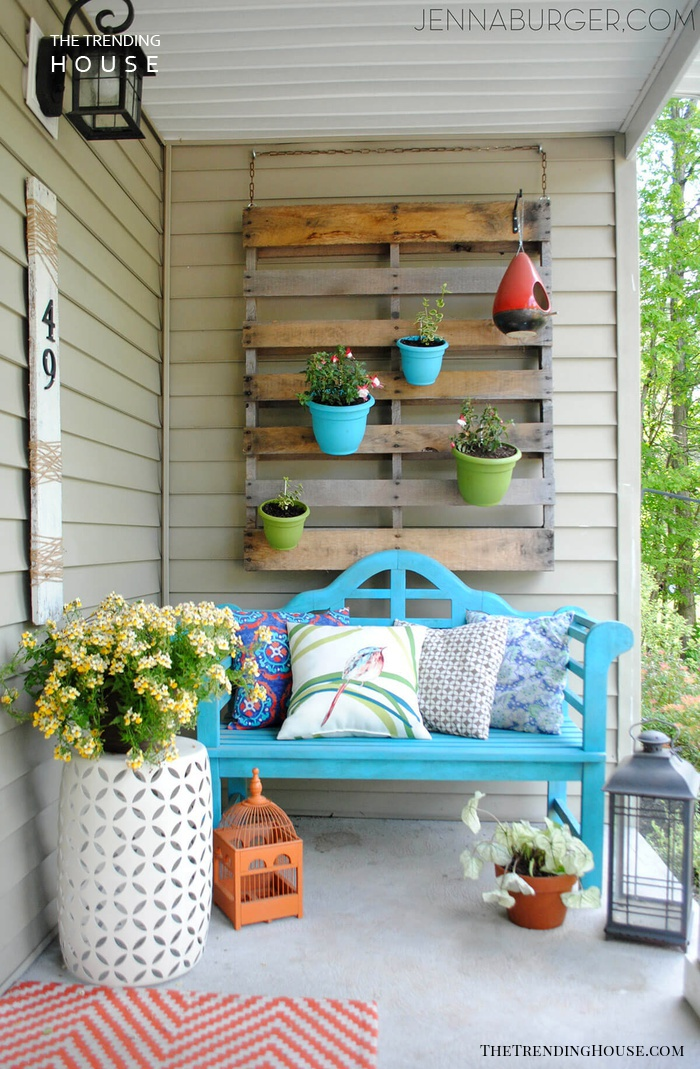 Pallet Hanging from the Wall with Flowers