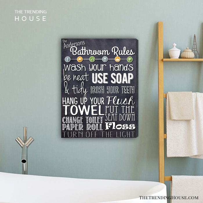 Personalized Bathroom Rules Canvas Sign