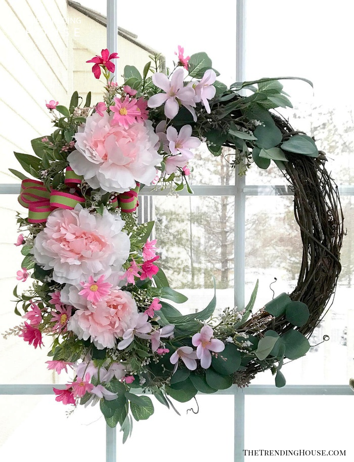 Pink and Green Cool-Toned Wreath