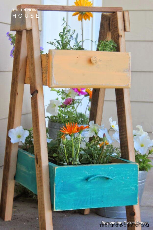 Planter Made of Old Drawers