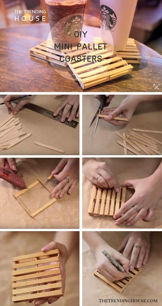 Popsicle Stick Pallet Coasters Craft