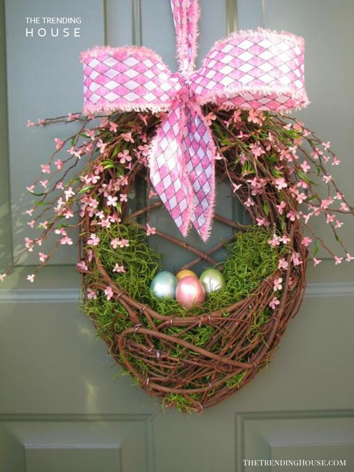 Pretty Easter Egg Nest Door Decoration