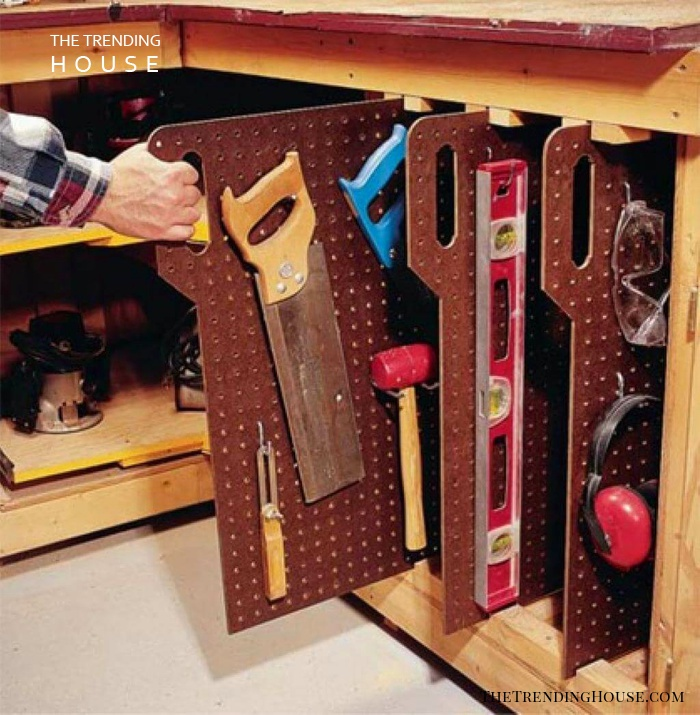 Pull and Stow Pegboard Tool Mounts