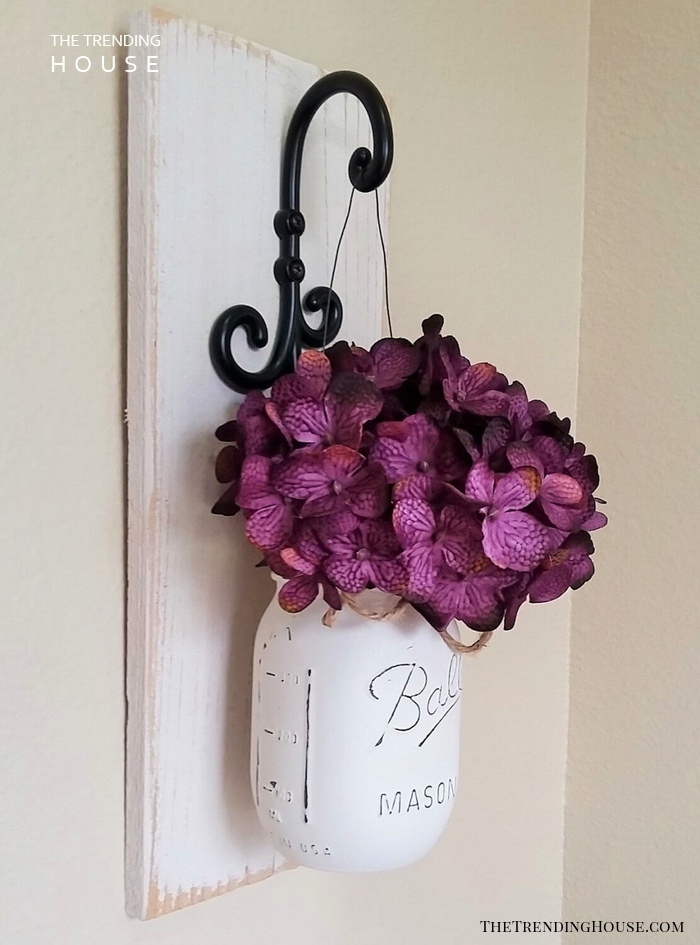 Purple Flower Whitewashed Mason Jar Wall Decor