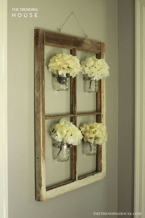 Quaint Mason Jar Window Frame Decor