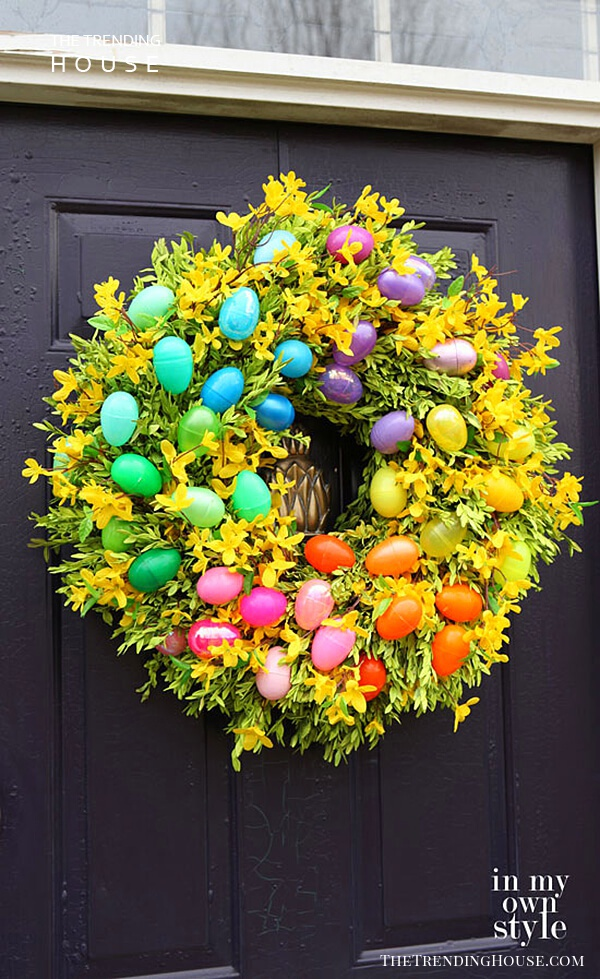 Rainbow Easter Egg and Flower Wreath