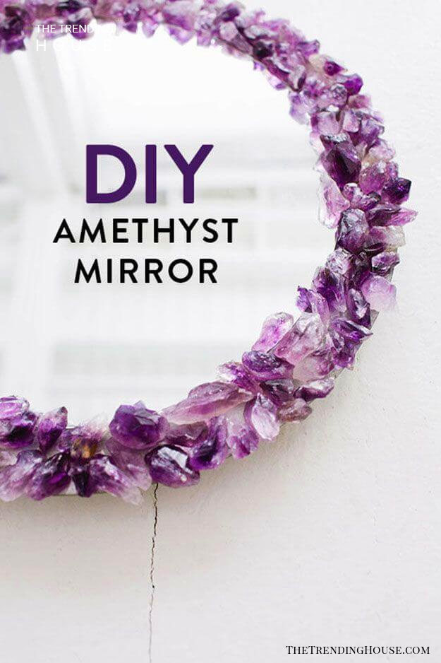 Raw Amethyst Framed Mirror