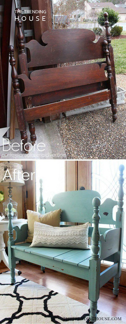 Reassembled Antique Bed-To-Bench
