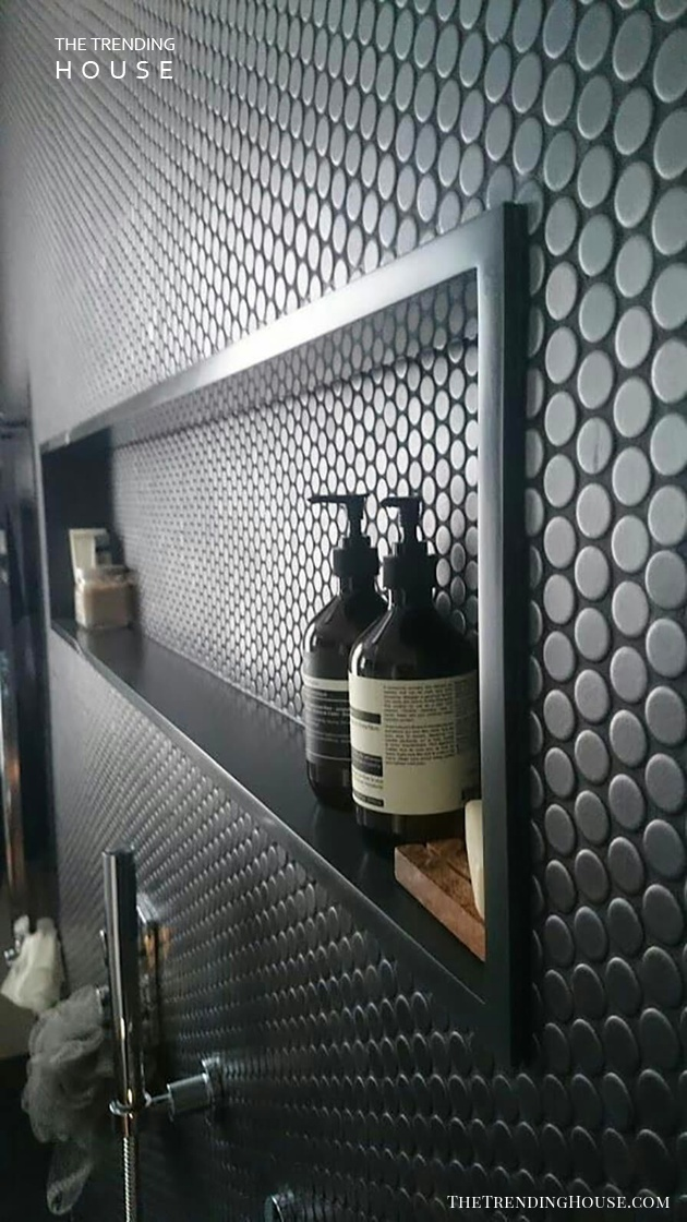 Recessed Shower Shelf with Polka Dot Tile