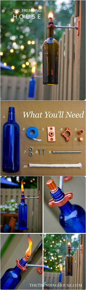 Recycled DIY Glass Bottle Torches
