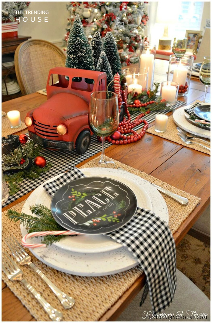 Red Christmas Tree Truck Centerpiece