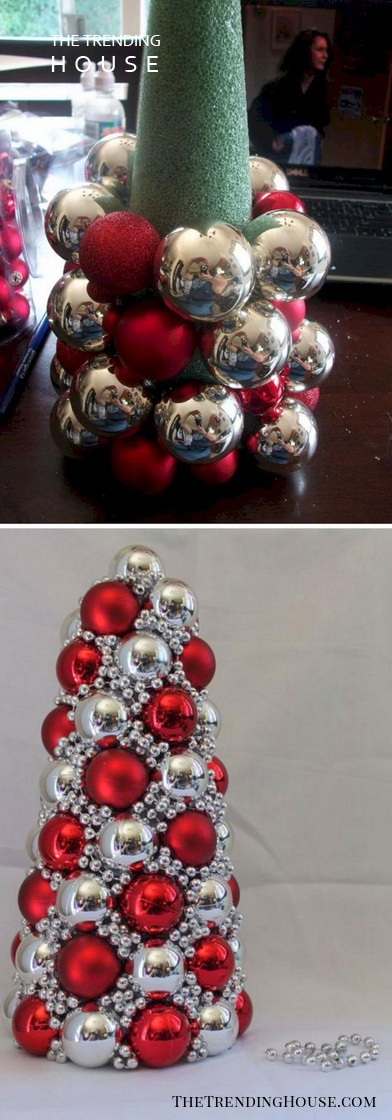 Red and Silver DIY Ornament Tree