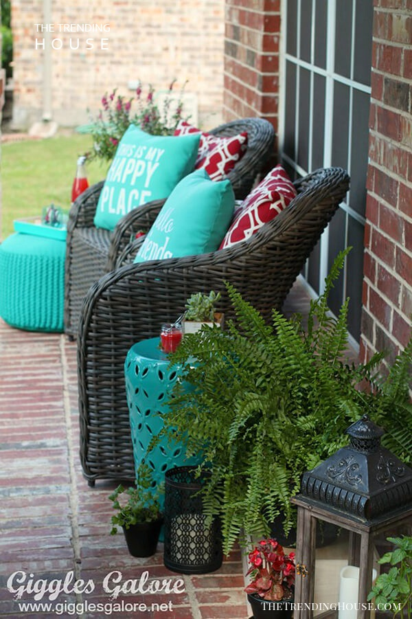 Red and Teal Decorative Porch Pillows