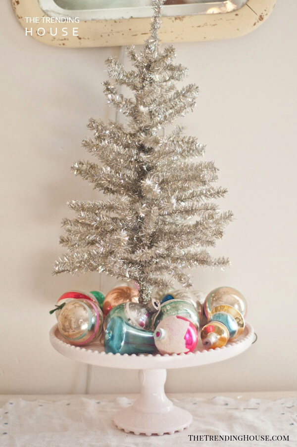 Retro Cake Stand And Silver Tinsel Mini-tree