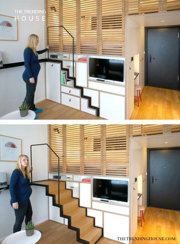 Rollaway Stairs for a Hidden Bunk Bed