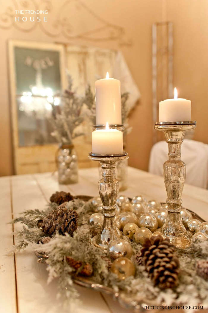 Romantic Silver Frosted Christmas Centerpieces