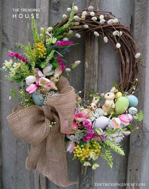 Rustic Bunnies and Eggs Easter Wreath Design
