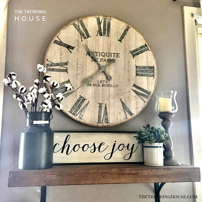 Rustic Clock and Plant Display