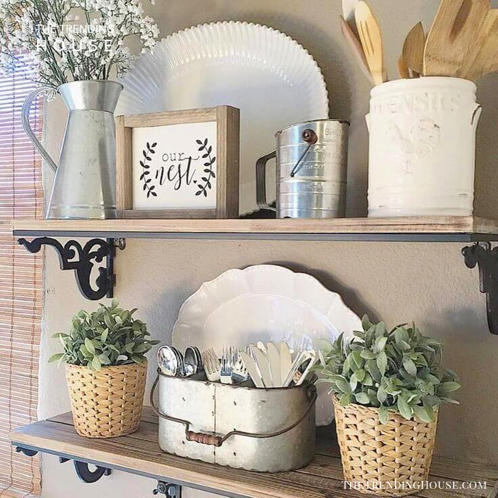 Rustic Kitchen Plant and Utensil Display