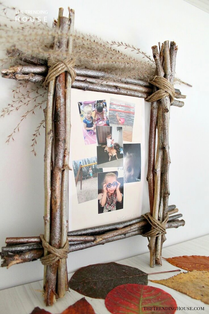Rustic Photo Frame Wrapped with Twigs