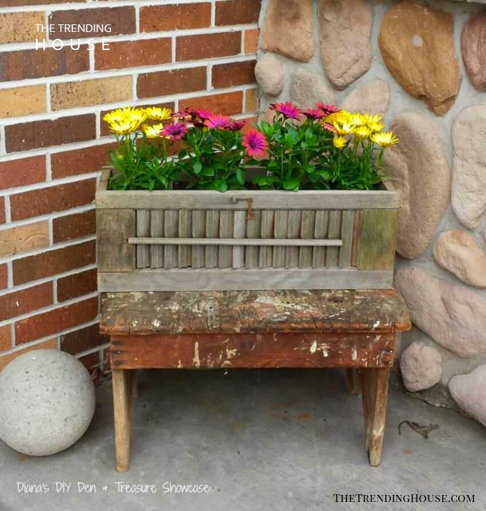 Rustic Planter Box on a Bench