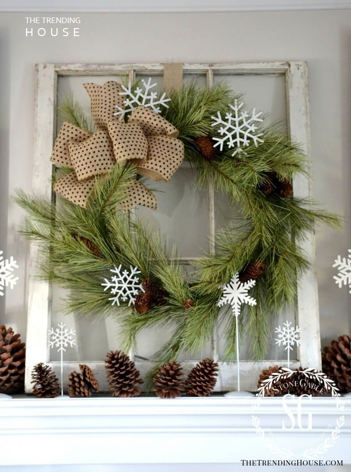 Rustic Snowflake and Pine Cone Wreath