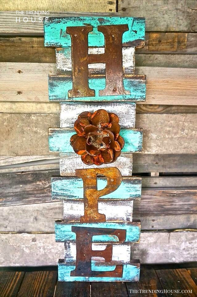 Rustic Western Turquoise Sign with Metal Letters