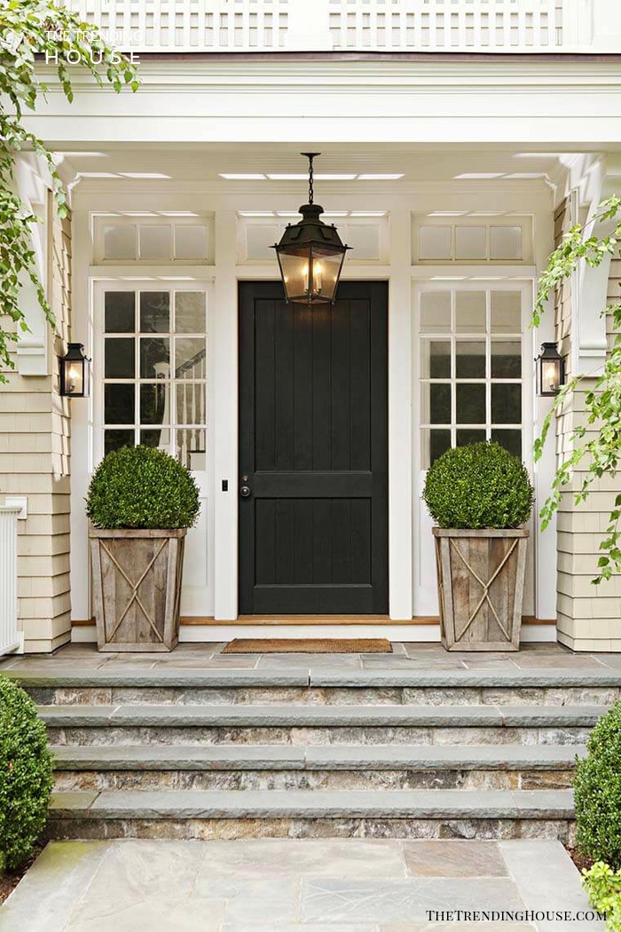 Rustic Wood Shrub Porch Planters