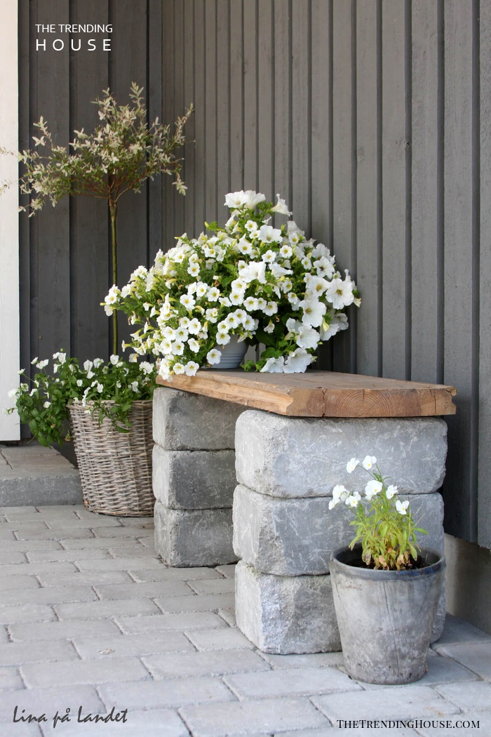 Rustic Wood and Stone Bench