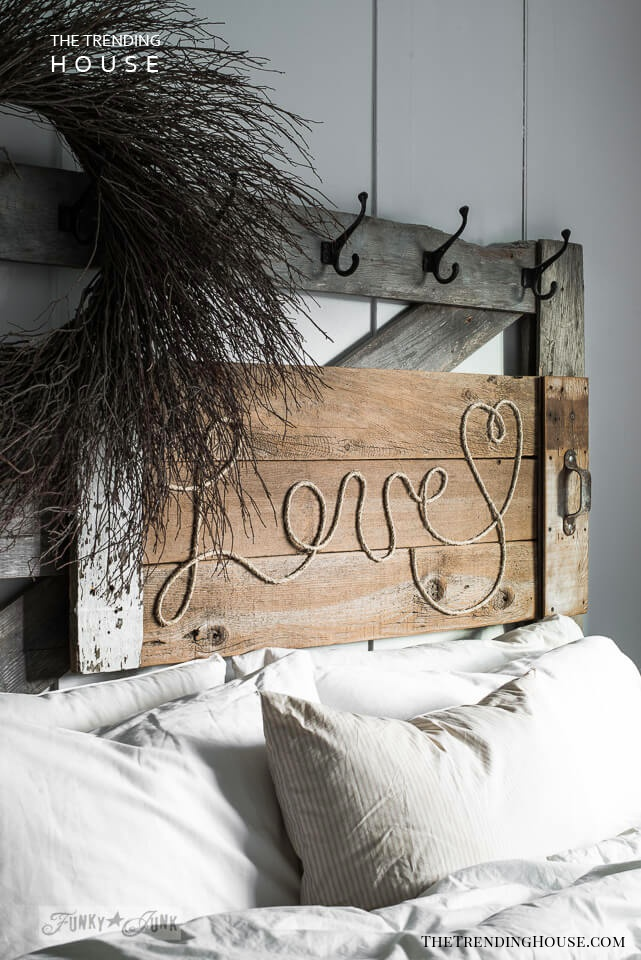 Rustic and Romantic Reclaimed Wooden Headboard