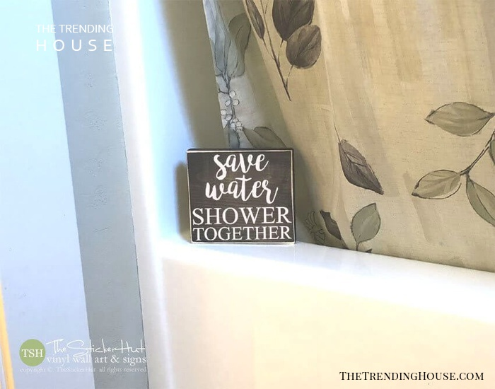 Save Water Shower Together Wood Block Art