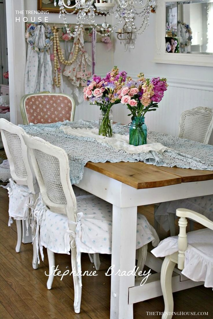 Shabby Chic Chandelier, Crochet and Roses