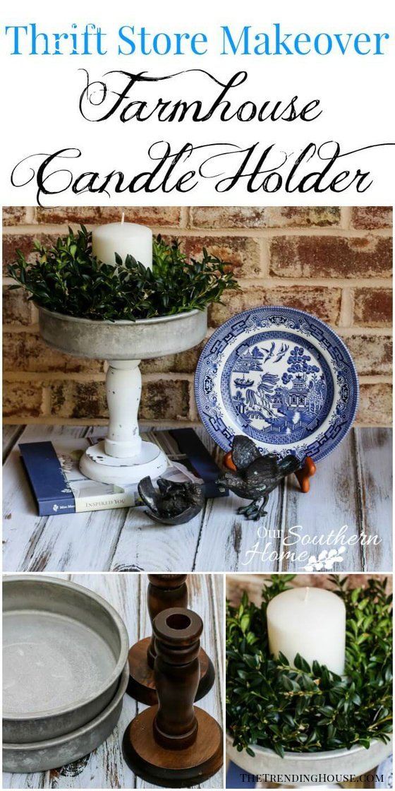 Shabby Chic Repurposed Candle Pedestal