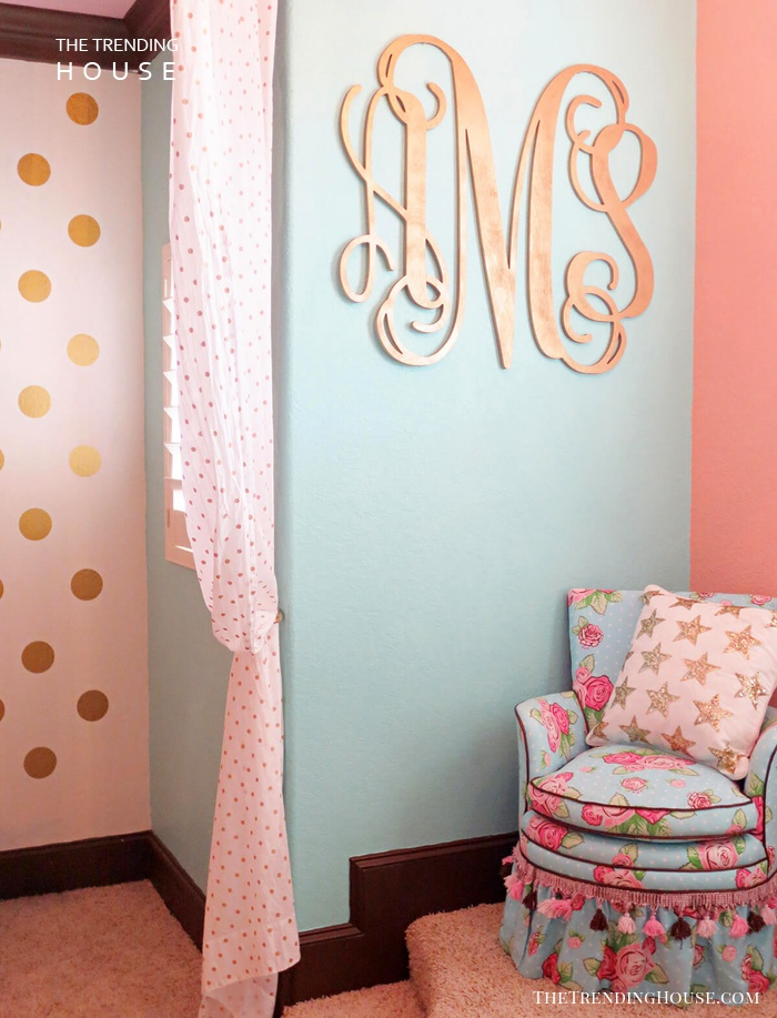 Shiny Pink Gold Monogram on the Wall
