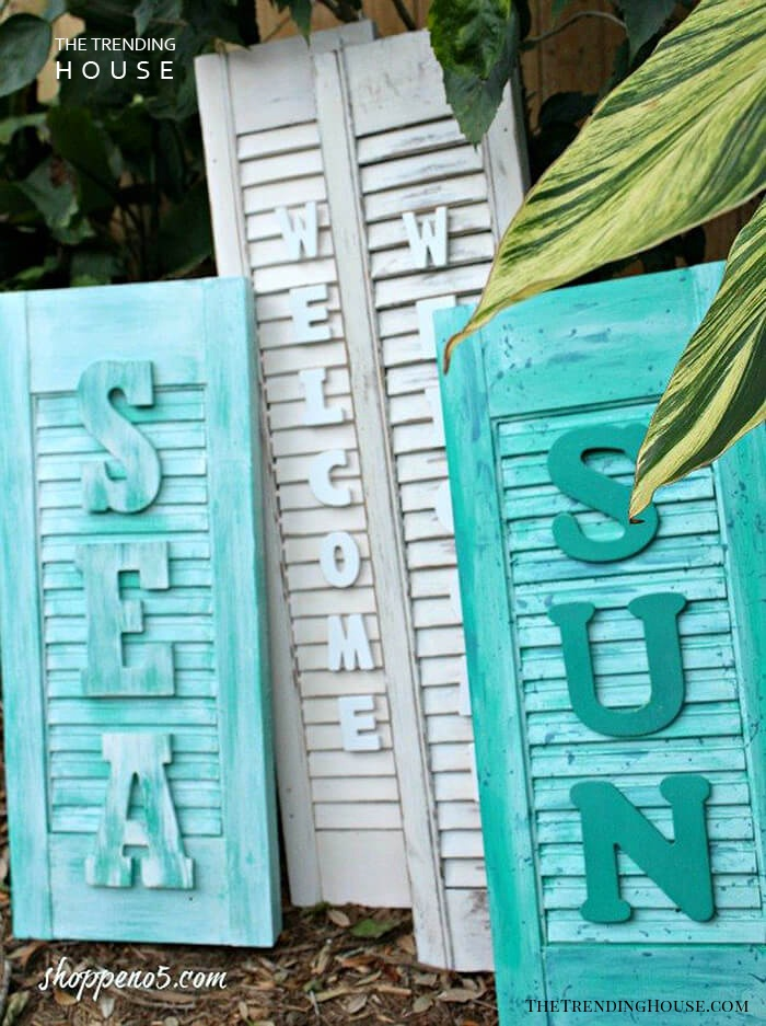 Shutters with Oversized Lettered Signs