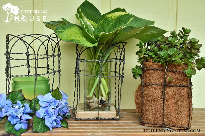 Simple Chicken Wire Vase and Candle Wrappers