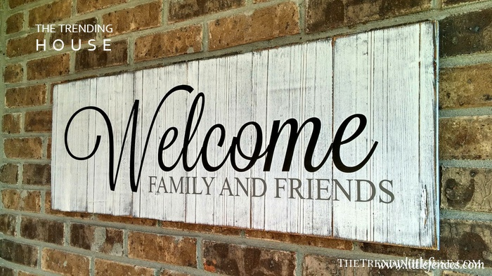 Simple White Painted Welcome Sign