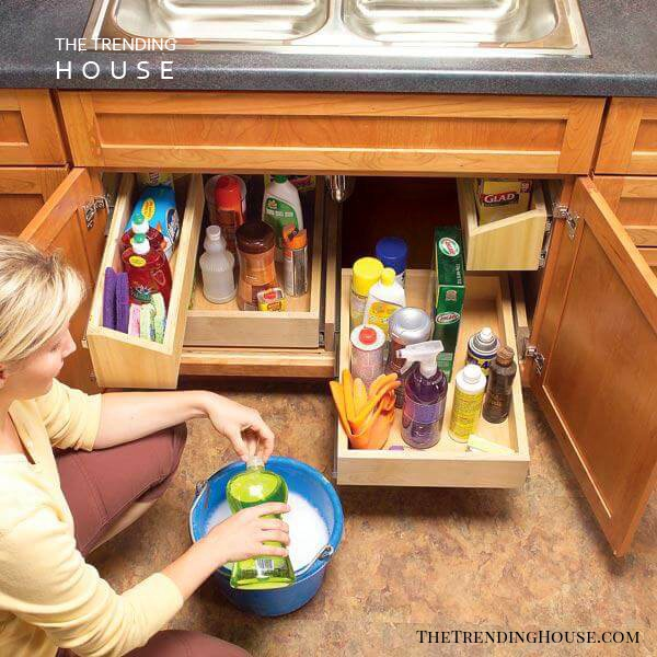 Sliding Drawers Make Sink Storage Simple
