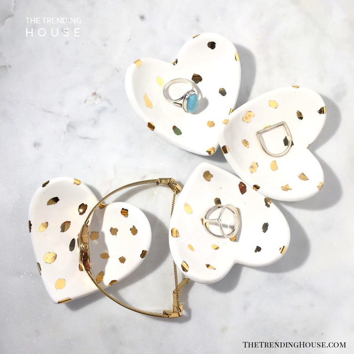 Small Heart Shaped Dish With Gold Accents
