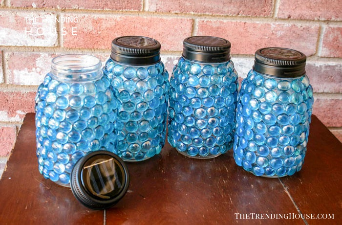 Solar Light Lids and Glass Beaded Jars