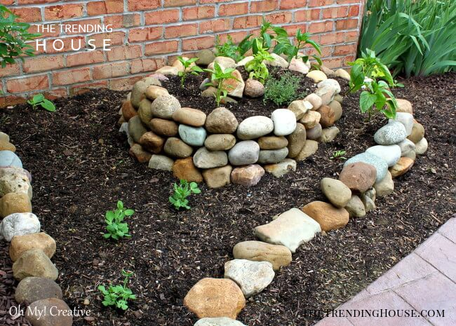 Stacked Stone Wall for Raised Garden Bed
