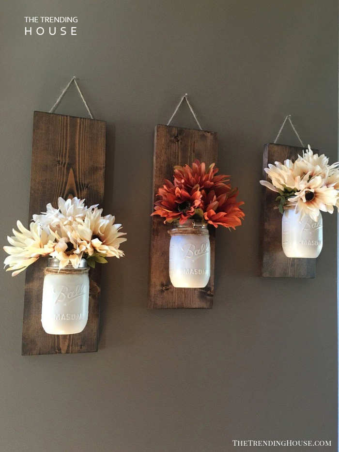 Staggered Canning Jar Plant Holders