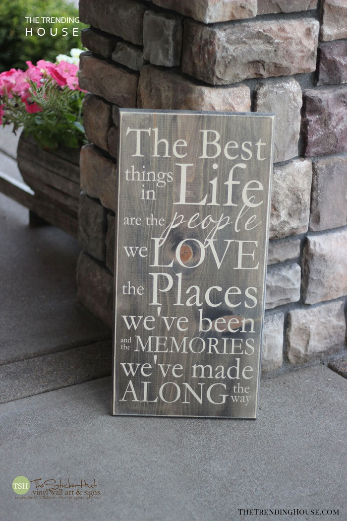 """Stenciled Outdoor """"Best Things in Life"""" Board"""